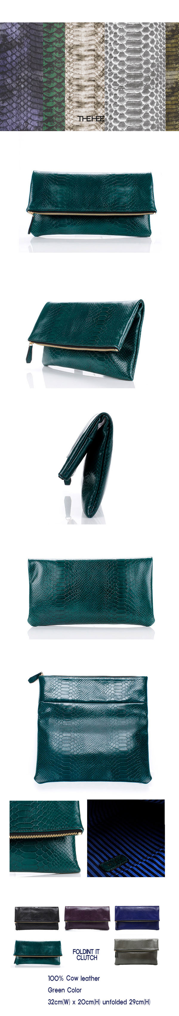 [THEHEE] Leather Clutch Bag - Green